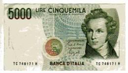 """BILLET ITALIE - 111 - 1985 - 5000 LIRE - BELLINI - OPERA """"NORMA"""" - COLISEE - [ 2] 1946-… : République"""