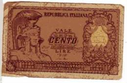 BILLET ITALIE - P.92a - 1951 - 100 LIRES - REPUBBLICA ITALIANA - BIGLIETTO DI STATO - [ 2] 1946-… : Repubblica
