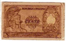 BILLET ITALIE - P.92a - 1951 - 100 LIRES - REPUBBLICA ITALIANA - BIGLIETTO DI STATO - [ 2] 1946-… : Républic