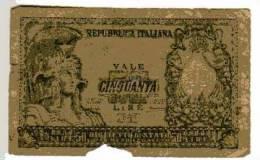 BILLET ITALIE - P.91 - 1951 - 50 LIRES - REPUBBLICA ITALIANA - BIGLIETTO DI STATO - [ 2] 1946-… : Républic
