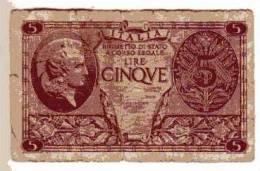 BILLET ITALIE - P.31 - 1944 - 5 LIRES - BIGLIETTO DI STATO - PROFIL FEMME CASQUEE - STYLE ANTIQUE - [ 1] …-1946 : Kingdom