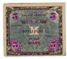 BILLET ALLEMAGNE - OCCUPATION DES ALLIES - P.193 - 5 MARK - SERIE 1944 - 5 Mark