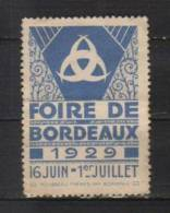 Vignette (Dimensions En Mm: L 49 / 35), De 1929, Foire Exposition De Bordeaux (33), Neuf Lavé - Zonder Classificatie