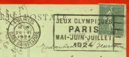 """Flamme """"JEUX OLYMPIQUES PARIS Mai-Juin-Juillet 1924 """" 75 Paris Gare Saint-Lazare (RARE Dans Cette Qualité De Frappe) St - Maschinenstempel (Werbestempel)"""