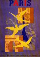 PUB Societe Nationale Des Chemins De Fer Francais, Paris Paul Colin 1950 ,colombes, Arc De Triomphe, Notre Dame - Publicité