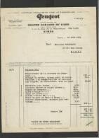 Papier En-tête 1934 Peugeot Nîmes - 1900 – 1949