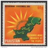 1984 Pakistan ,Presidential Referendum 1984  Map 1v. ,cartes, Karten,mapas , Islamisation, Mi 650 Yv.631 MNH - Geographie