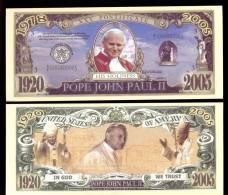 USA * FUN BANKNOTE POPE JOHN PAUL II * NO LEGAL TENDER