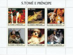 st3213 S.Tome Principe 2003 Dog Cat s/s Michel:2124-2129 Scott:1519