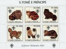 st3217 S.Tome Principe 2003 Cat Scouting s/s Michel:2106-2111 Scott:1510