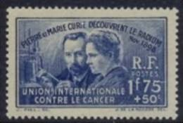 France 1938 Surtaxed Stamp For The Fight Against Cancer MH Marie Sklodowska And Pierre Curie Discover The Radium In 1898 - Malattie