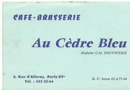 Vieux  Papiers : Carte  Café - Brasserie   AU  CEDRE  BLEU  A  PARIS  ( 12 Par 8 Cm) - Cartes