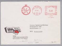 Motiv Uhrmacherei Zeitung 1981-10-14 Firmenfreistempel Freiburger Nachrichten Uhr - Horlogerie