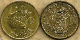 SEYCHELLES 10 CENTS FISH FRONT EMBLEM  BACK 1997 EF READ DESCRIPTION CAREFULLY !!! - Seychelles