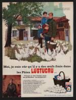 Pub Papier 1966 Alimentation Pates LUSTUCRU élevage Avicole Marcel Raynaud Chabeuil Drome Dessin Poule Coq - Publicités