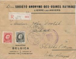 043/21 -- Lettre Recommandée TP Petit Montenez  1 F Et 75 C LIER Vers La Tchécoslovaquie - Entete Margarine Belgica - 1921-1925 Petit Montenez