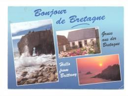 France, Un Bonjour De Bretagne, Tempête à Quiberon, été En Trégor Et Coucher De Soleil Sur Le Raz De Sein - Bretagne
