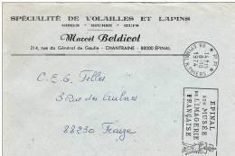 """88 CHANTRAINE - \""""SPECIALITE DE VOLAILLES ET LAPINS\"""" - Marcel BELDICOT  8-10-1974 - Commerce"""