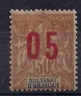 SULTANATO DE ANJOUAN, YVERT 25A*, AÑO 1912, SOBRECARGADOS, COLONIAS FRANCESAS