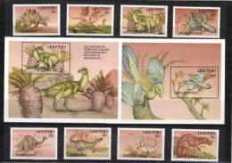 Lesotho 1992 Mi. 980-987 And Block 90-91 MNH, Prehistoric Animals, Lesothosaurus Archeopteryx Massospondylus A.o. - Lesotho (1966-...)