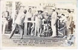 DEL  MAR, CALIF.  REAL  PHOTO RACE TRACK JOCKEY  WITH MOVIE  STARS 1946 - San Diego
