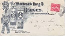 U.S. AD  COVER  1895  BADGES  NEWARK,  NEW  JERSEY - Covers & Documents