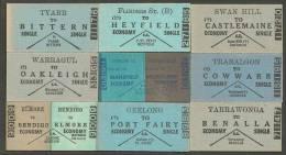 QN220 AUSTRALIA Victoria 9 Tickets Traralgon Yarrawonga Geelong Swan Hill Warragul Elmore Tyabb - Railway