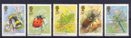 Mzp173 FAUNA INSECTEN LIBELLE KEVER INSECTS BUMBLE BEE LADYBIRD DRAGONFLY CRICKET BEETLE KÄFER GREAT BRITAIN 1985 PF/MNH - Insecten