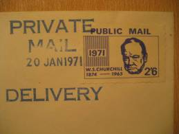 Private Mail Delivery 1971 CHURCHILL Postal Strike Public Local Mail Stamp On Cover UK GB - Sir Winston Churchill
