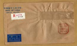 Enveloppe Bank Of China Dalian Branch Recommanded By Air Mail Par Avion + Cachet Taxe Perçue - Cina