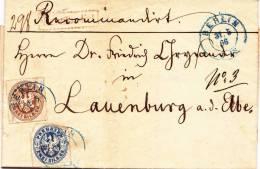 AD, Preussen, R-Brief -Recomandirt, Mit  Nr. 17+18, 2+3 Silbergr., Mit Inhalt, Berlin-Lauenburg, Echt Gelaufen - Preussen