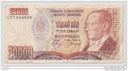20000 Lirasi 1970 - N° C77 634646 - Turquie - - Turquie