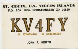 US Virgin Islands St Croix Christiansted Radio Amateur  Card John P. Kinzer  1970 - Vierges (Iles), Amér.