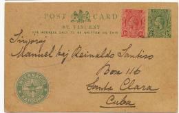 St Vincent Postal Stationery + Stamp, To Cuba 1922 Esperanto Internacio Katolika - Saint-Vincent-et-les Grenadines