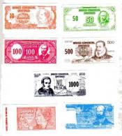 BILLET FACTICE DE JEU - CHILI - LOT DE 7 BILLETS - 10,50,100,500,1000,5000 Et 10000 PESOS - UNIFACE - PETIT FORMAT - Chili