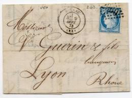 N°60A - VARIETE BARAT/SUARNET N° 50 - Filet Sup à Gauche écrasé Jusqu'à F, Sur Lettre - 1871-1875 Ceres