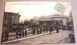 Cpa Villefranche Sur Saone,gare Terminus Du Chemin De Fer Beaujolais CFB,tres Animée 1905 - Villefranche-sur-Saone