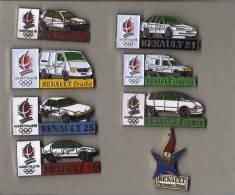 LOT DE  7 PIN´S Véhicules Renault Alberville 92 Diverses.+ Sigle Mascotte JO. - Renault
