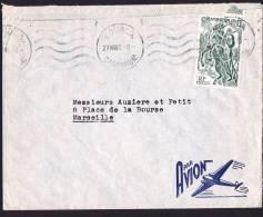 1951 Lettre Avion  Pour La France , Cavaliers 10 Fr (2è Tirage: Olive) Yv 292 - Cameroun (1915-1959)