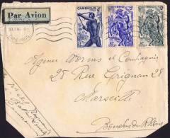 1946 Devant De  Lettre   Pour La France  Chasseurs 4 Fr Yv 288 Cavaliers 6 Fr Yv 290, 10 Fr Yv 291 - Cameroun (1915-1959)