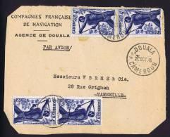1946 Devant De  Lettre   Pour La France  Chasseurs 4 Fr Yv 288 X 4 - Cameroun (1915-1959)