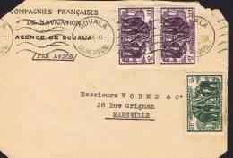 1946 Devant De  Lettre   Pour La France  Éléphants 2 Fr Yv 185, 3 Fr Yv 188 X 2 - Cameroun (1915-1959)