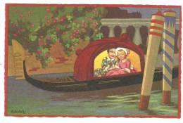 CPA Illustrateur Italien,R.SGRILLI, Fortuna N°2260, Couple Arlequin Dans Gondole à Venise - Künstlerkarten