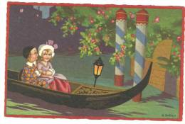 CPA Illustrateur Italien,R.SGRILLI, Série Fortuna N°2260, Couple Arlequin Dans Gondole à Venise - Künstlerkarten