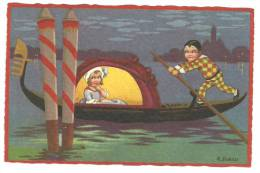 CPA Illustrateur Italien,R.SGRILLI, Série Fortuna N°2260, Couple Arlequin Dans Gondole à Venise, Arlequin Rame - Künstlerkarten