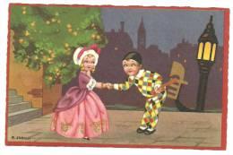 CPA Illustrateur Italien,R.SGRILLI, Série Fortuna N°2260, Couple, Arlequin  à Venise Saluant Sa Belle - Künstlerkarten