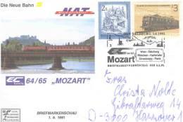 """Rep. Osterreich - Die Neue Bahn - EuroCity 64/65 """"Mozart"""" - Salzburg 1/6/1991( RM0938) - Trains"""