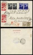 2-11-1937 - # 456 + 457 En Paire + PUB 75 + 76 Sur Recommandé Le Roeulx Vers Cologne - Triple Port - Brieven En Documenten