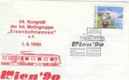 "Rep. Osterreich -  24. Kongress Der Int. Motivgruppe ""Eisenbahnwesen"" - Wien 1/9/1990  (RM1330) - Trains"