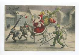 NOEL PERE NOEL JOLIE CARTE ANE RAMONEUR ECHELLE CORDE 1915 - Natale
